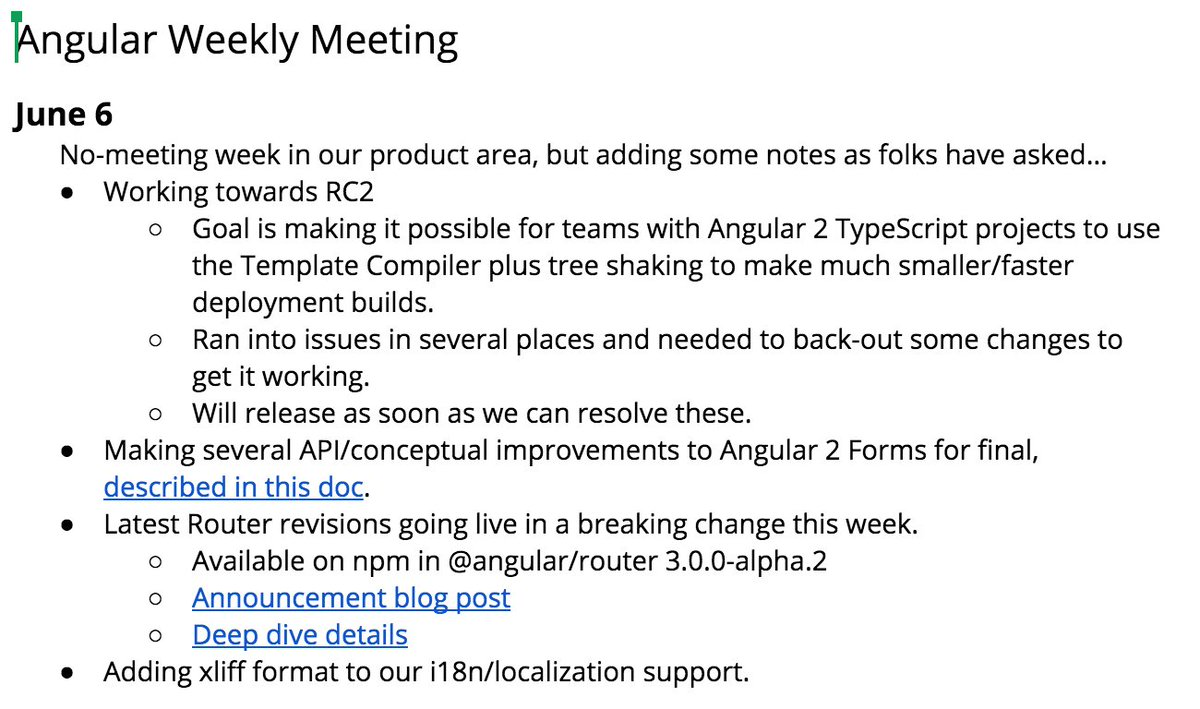 angular on twitter angular 2 meeting notes on progress towards