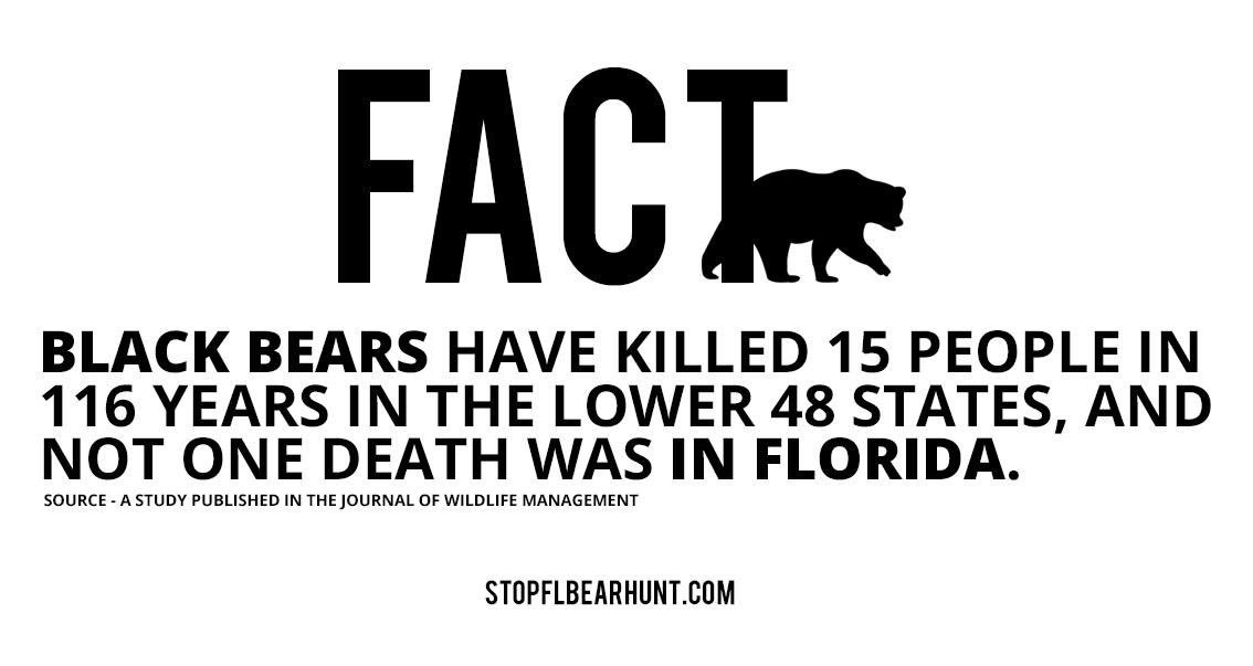 No person has ever been killed by a black bear in Florida in recorded history! #FLBearHunt @MyFWC stop the hysterics https://t.co/k55401gxdZ