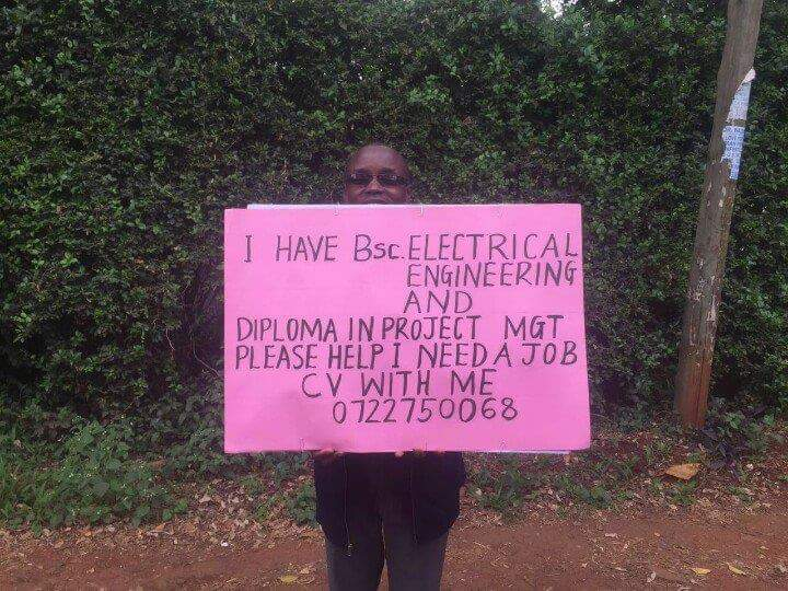 So apparently this gentleman is standing along Muthaiga road. Please share coz it takes immense courage to do this.