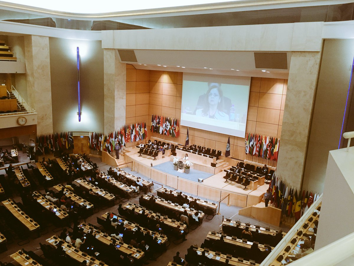 #ILC2016 Chair of Committee on Employment for Transition to Peace delivering closing speech after 2 wks negotiations https://t.co/ejiSe8CZnA
