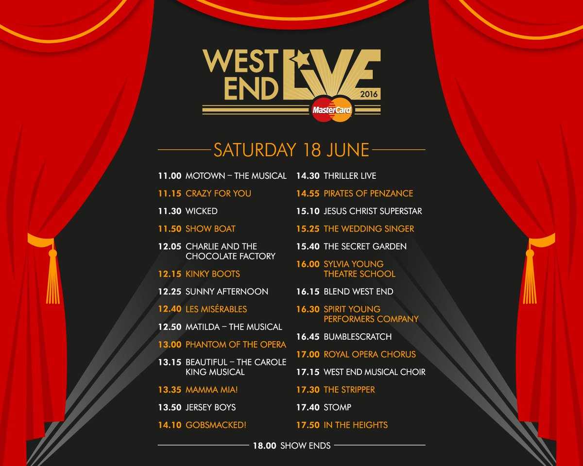 Get excited! Here are the schedules for #WestEndLIVE with @MasterCardUK. https://t.co/KMhAQBw2Gv