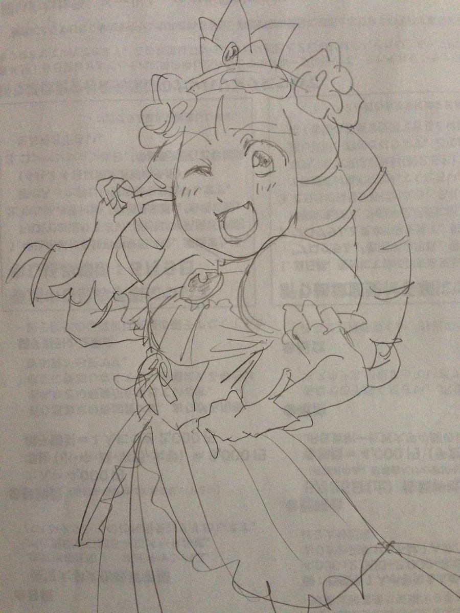 夕方から画像漁っててようやく見つけた。私が13年振りに描いた絵。たまたま見た蹴り姫が可愛かったから。ゲームしたことないけど。