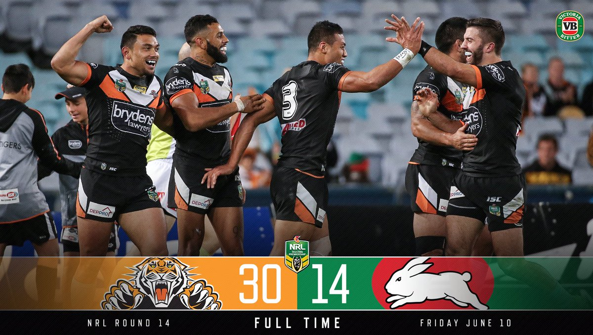 FULL TIME!! Great win from the boys tonight!  #RETWEET if you absolutely loved that one!  #NRLTigersSouths https://t.co/rwBo7Y7RYW