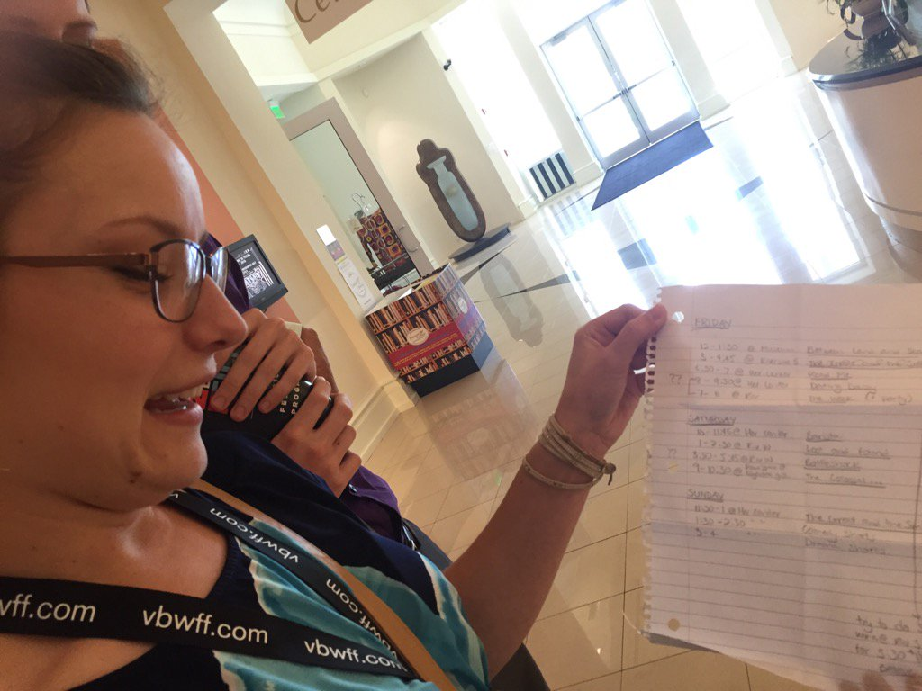 Trying to squeeze as many films in as possible, she handwrote her schedule for the @VeroBeachWFF. #TCPalmSocial https://t.co/M85jYYJMSA