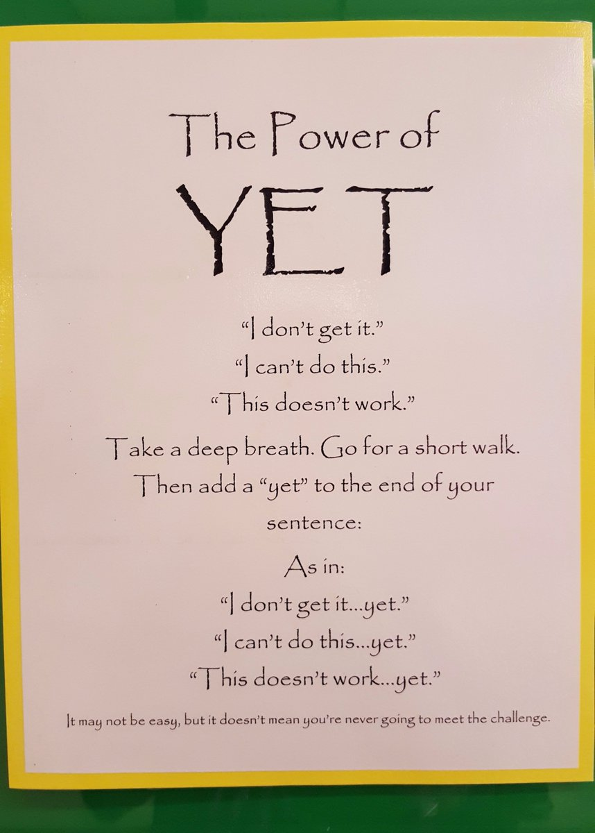Adding one little word makes a huge difference! #growthmindset #powerofyet @NLESDCA Idea fr https://t.co/yey1fhtZVA https://t.co/vZsi3Ym02C