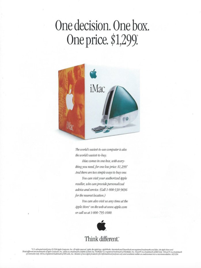 One decision. One box. One price. (From a 1998 iMac brochure)  #Apple40Years https://t.co/LaZR3JvPGh