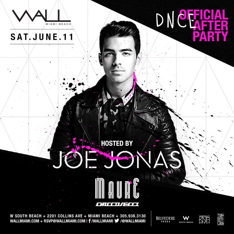 Just IN! The @DNCE Official After Party hosted by @joejonas tomorrow night at WALL.   https://t.co/sPquYmwUSA https://t.co/lXXUmnHhky