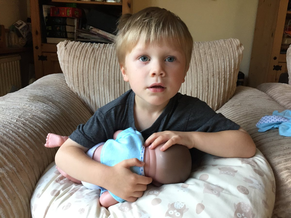@LetToysBeToys #WorldDollDay Here's our little lad feeding his baby about a year ago. 💕 https://t.co/8HYXHCLuRi