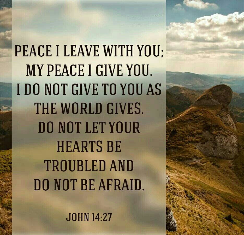 """""""I do not give to you as the world gives. Do not let your hearts be troubled and do not be afraid."""" John 14:27 https://t.co/Wou2fTAzJL"""