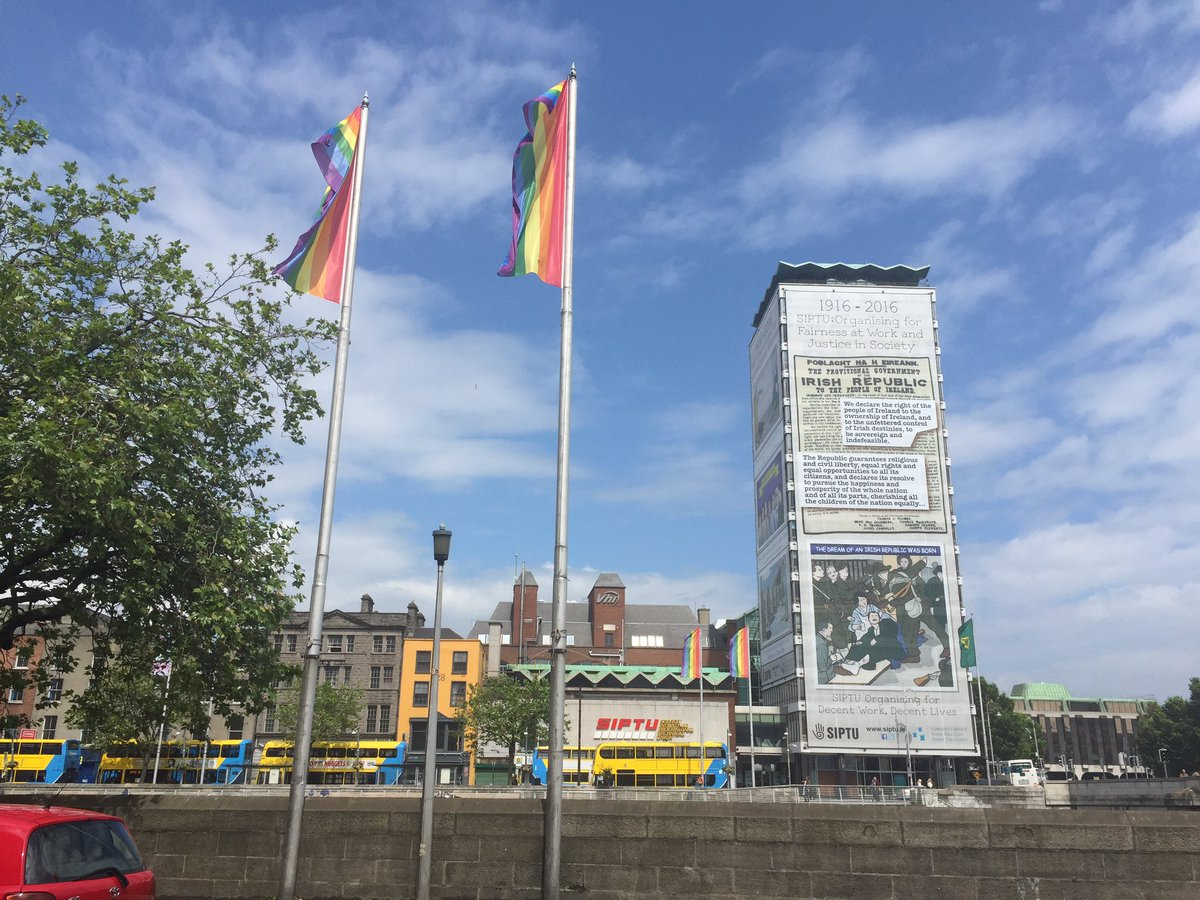 Great to see Dublin getting dolled to celebrate @DublinPride. Rainbow flags along the city quays already. https://t.co/paAlfoPgoy