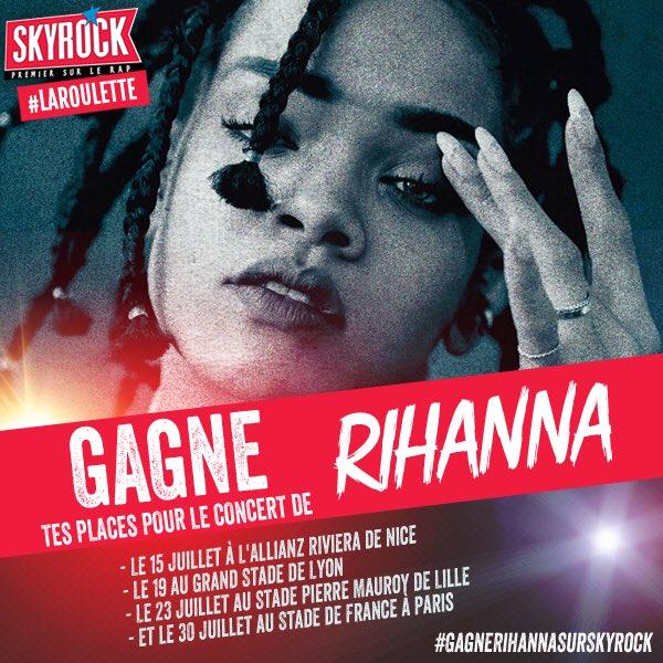 RT et TWEET en masse tout le weekend #GagneRihannaAvecSKYROCK pour voir #Rihanna à #Nice #Lyon #Lille #Paris