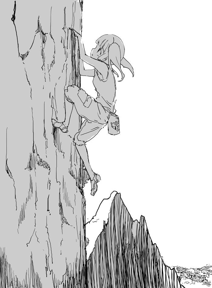四葉のクローバーを求めてメキシコ・モンテレイにあるエル・センデロ・ルミノソの1500フィートの絶壁を登攀中のチエリ・オガタ、膨らんだ口の中には日本の友人ミムラ(パティシエ)から送られたチョコレートを口に含んでいる