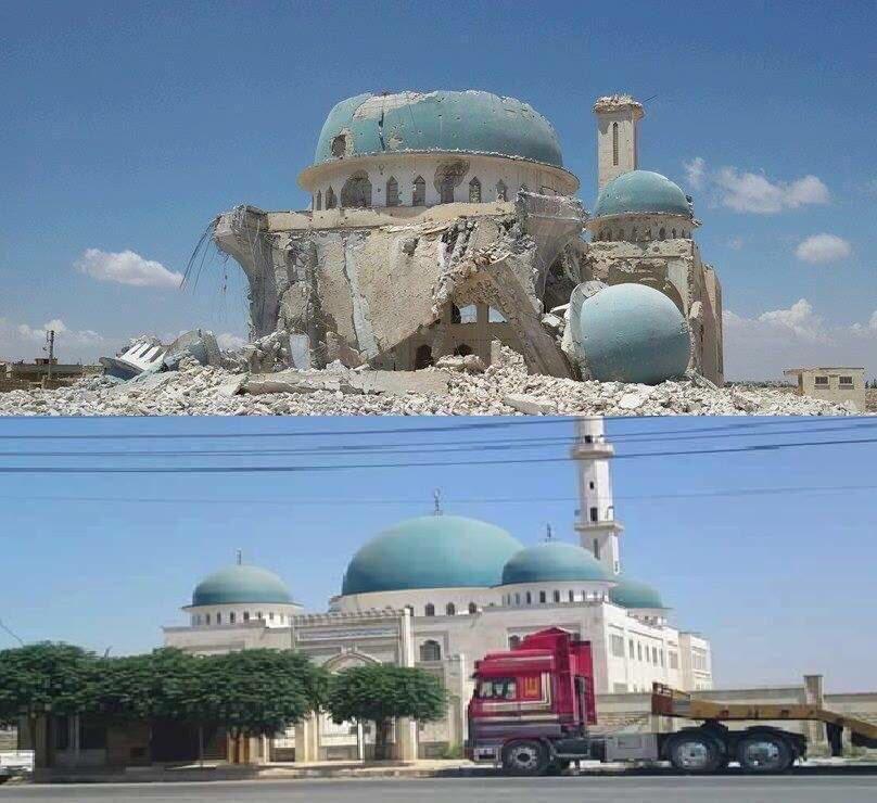 الأكثر انتشاراً: أحد أجمل المساجد في #حلب مسجد صهيب الرومي قبل وبعد القصف الروسي. #سوريا