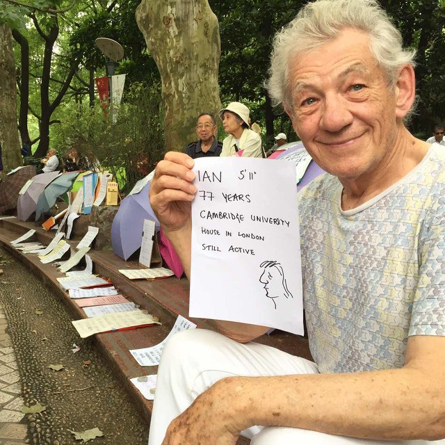 Best photo of year? @IanMcKellen up for grabs at Shanghai's famous marriage market. on tour with #shakespearelives https://t.co/hvgRwcLFKQ