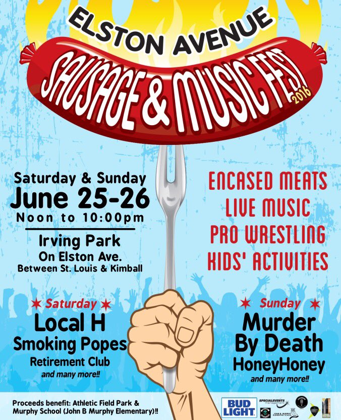 We're playing Elston Avenue Sausage & Music Fest on June 25 with our old friends @LocalH! https://t.co/rRZZ0xwXpO