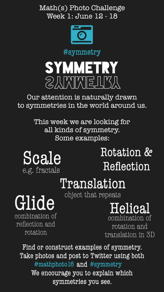 We are ready to play!   The Week 1 #mathphoto16 challenge is #symmetry.   How many different types can you find? https://t.co/U2J6bQET25