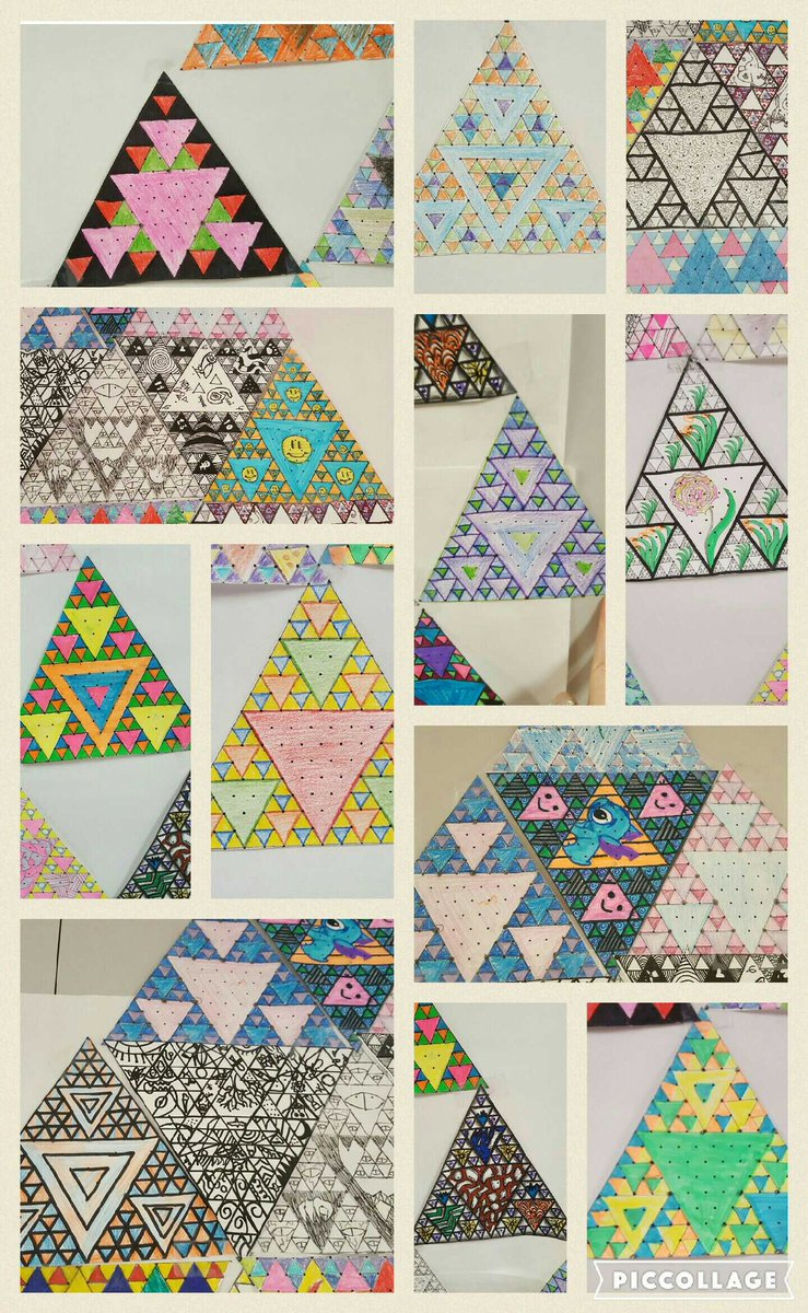 Student created sierpinski triangles! The most quiet & calm day all year! @mathphoto16  #mathphoto16 #symmetry https://t.co/ICzXAWAxhn