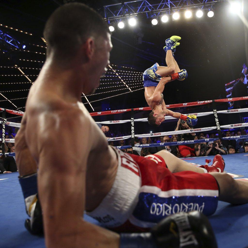 Tremendous photo by Top Rank's Mikey Williams of @vasyllomachenko's post-knockout celebration https://t.co/jofdMa3RHk