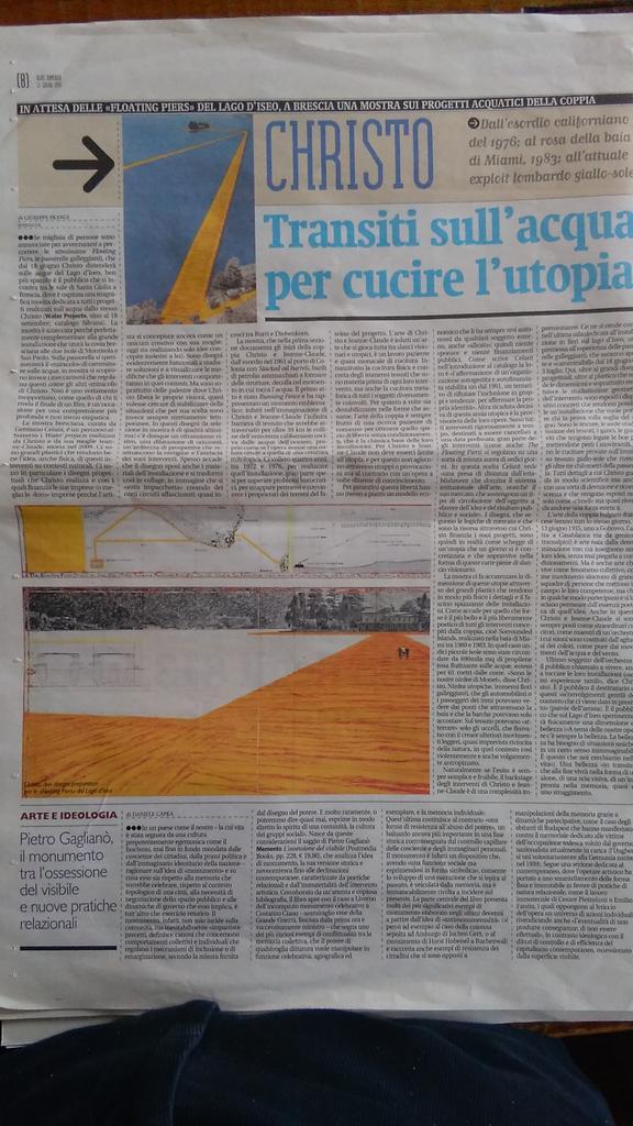 RT @robedachiodi Oggi su Alias @ilmanifesto racconto di Christo in Lombardia. In pagina anche @DanieleCapra