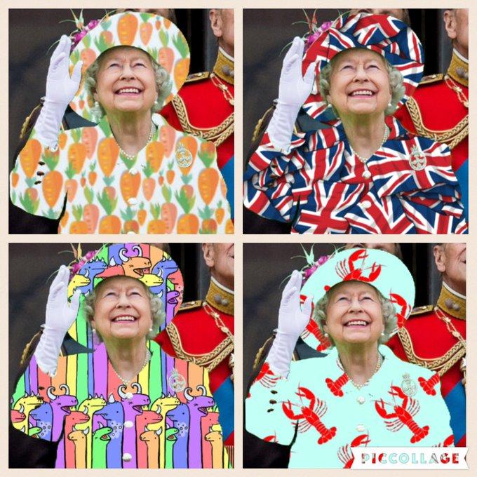 Праздничный наряд Елизаветы II высмеяли в Интернете (фото) CkwiLMHUYAAWLWh