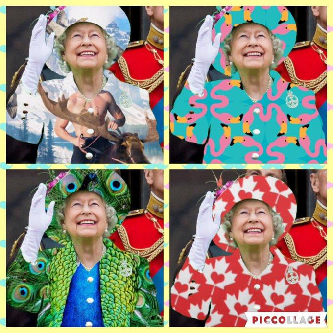 Праздничный наряд Елизаветы II высмеяли в Интернете (фото) CkwiLZVVAAItewv