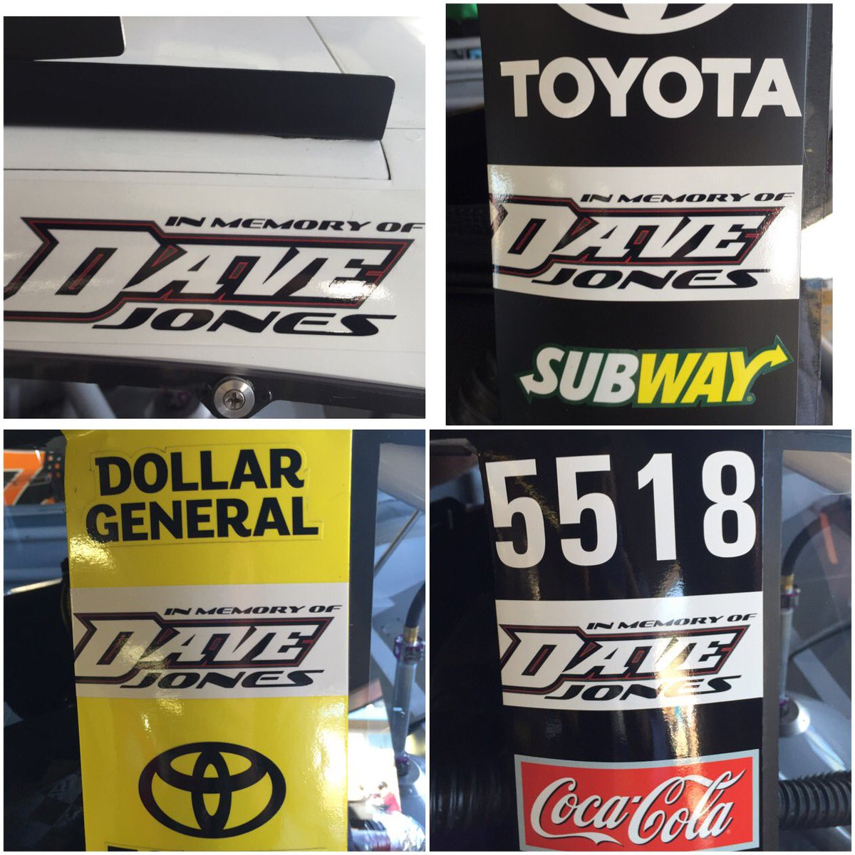 All four @JoeGibbsRacing #Camrys are running decals today @MISpeedway in honor of Dave Jones, @erik_jones' dad. https://t.co/KHYLsZKKfx