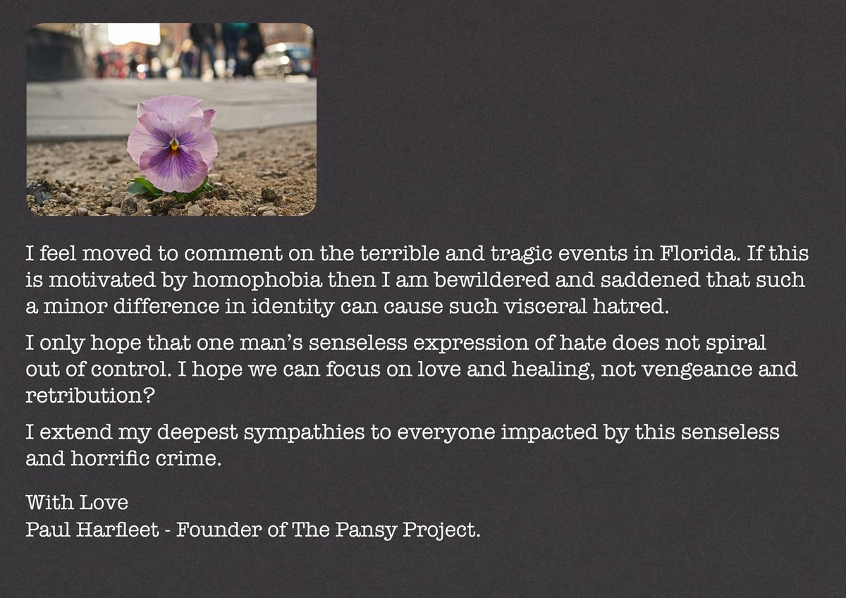 #Orlando #Florida #Statement from @ThePansyProject - Very, very sad. https://t.co/dSK5UODQ6K