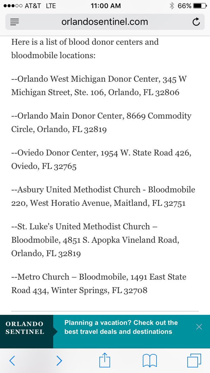 Blood donor locations in Orlando area. https://t.co/VMnL64pc8h
