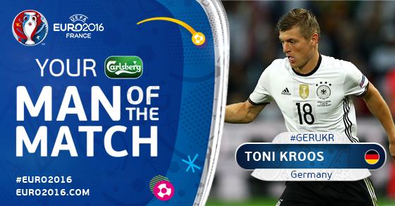 Toni Kroos Ukrainaga qarshi o'yinning eng yaxshi futbolchisi deb topildi
