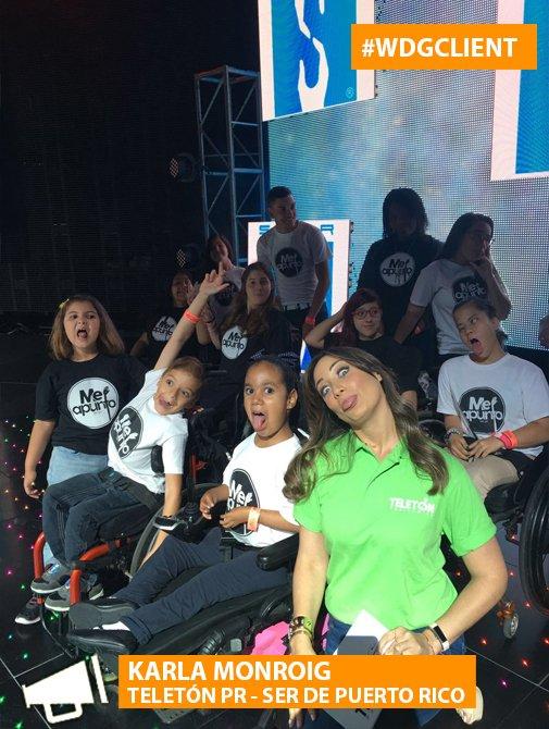 Nuestra @KarlaMonroig en el #TeletónPR compartiendo con los niños de @serpuertorico. #MeApunto #wdgclient https://t.co/SNNgRf0DFZ