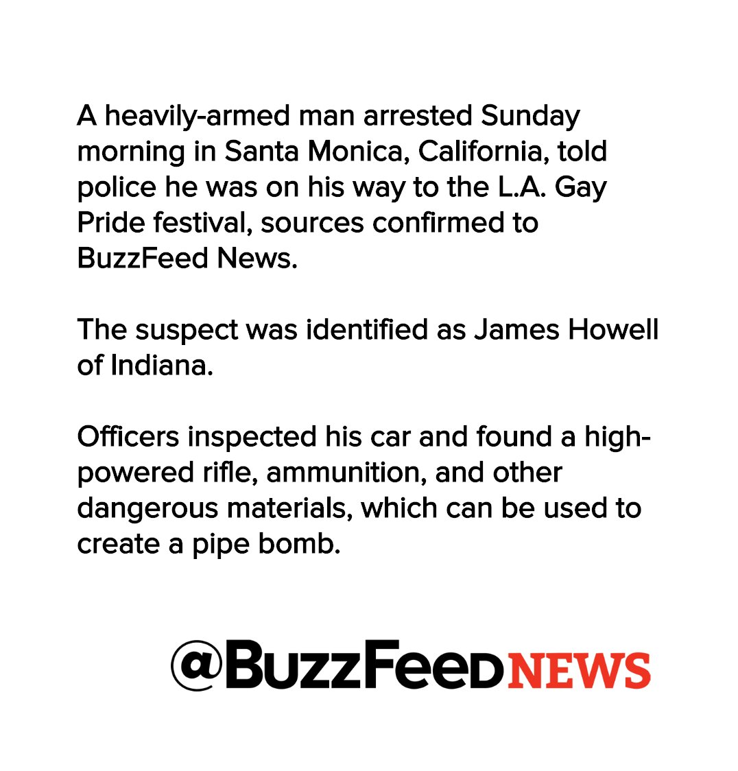 Police identify James Howell as man arrested with explosives on his way to L.A. pride parade https://t.co/p2JGmFTHES