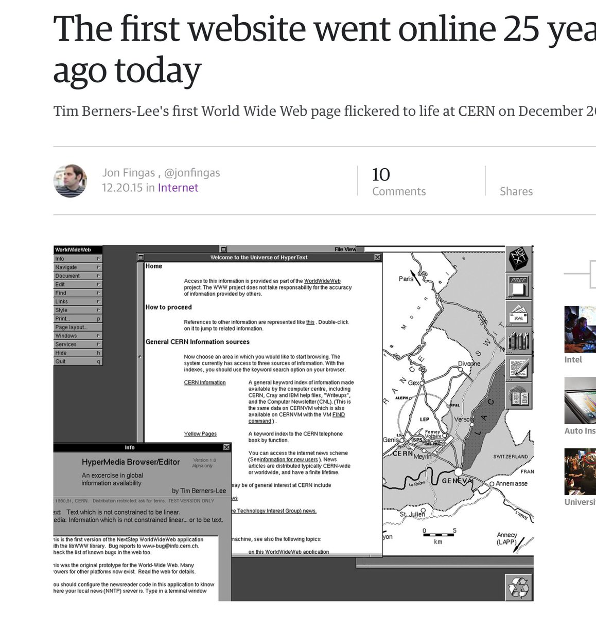 First website 25 years ago On CERN NeXT machine.  CERN decided not to license web (cuz they were not greedy jerks). https://t.co/UpMswiL49s