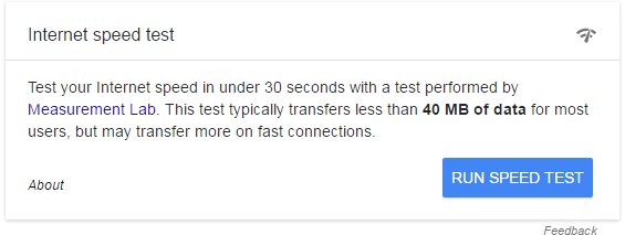 "Looks like Google is testing their own internet speed test (query = ""check internet speed"") - not seeing it live -- https://t.co/wjsPIlEbFv"