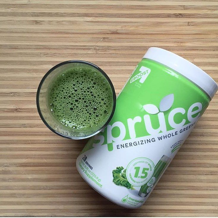 Fight through Monday afternoon with extra energy from #Spruce. Whole greens in a glass.