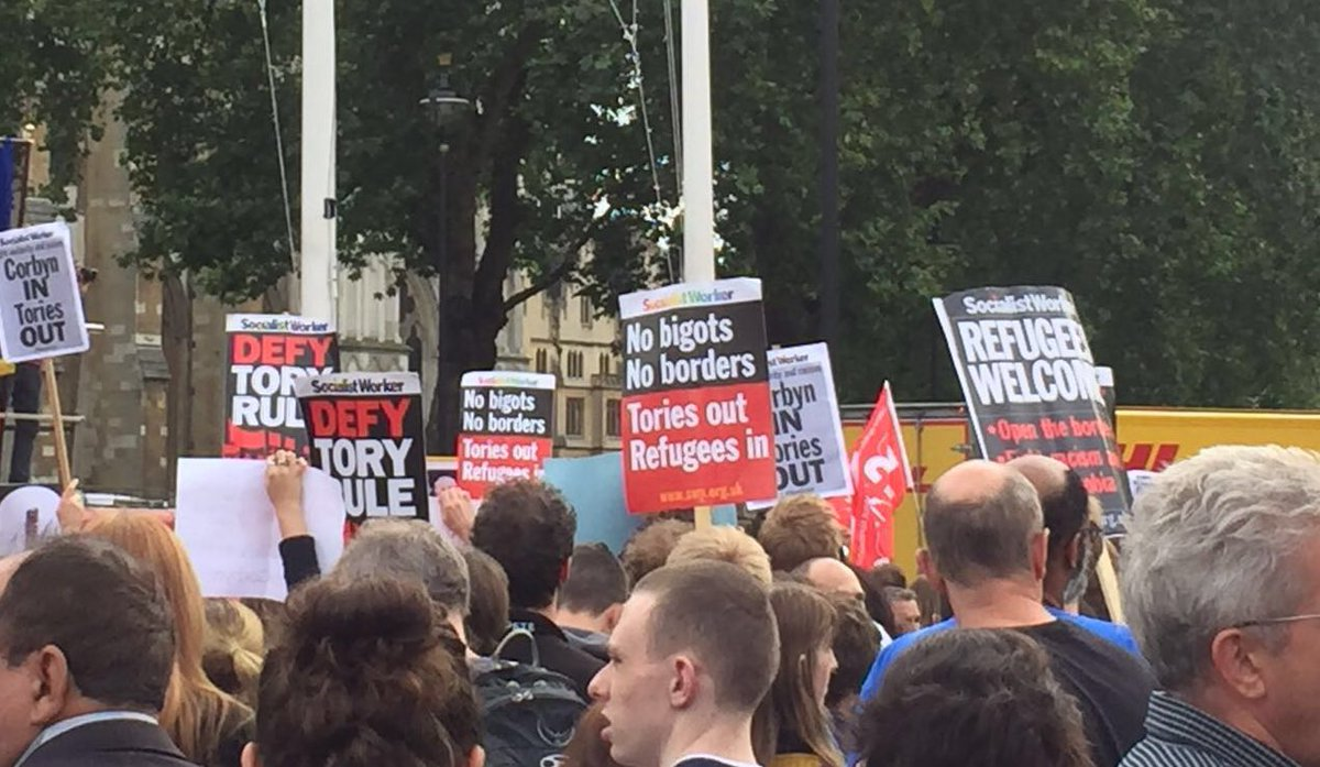 Where are the Labour members? They are all SWP/SP banners! Entryists have taken over #LabourReshuffle https://t.co/1VUArdTZ0s
