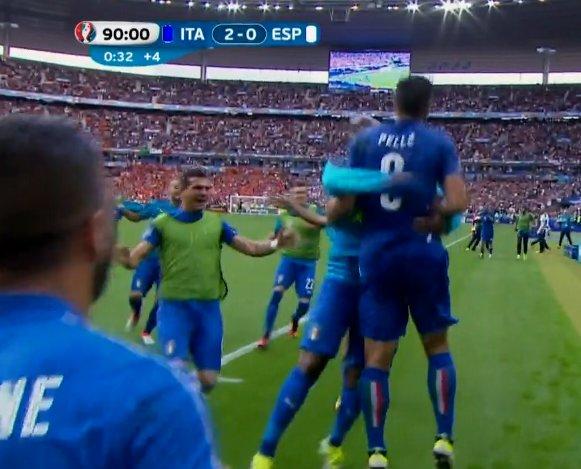ITALIA SPAGNA Video: Gol di Chiellini e Pellè, miracoli di Buffon, e ai quarti è Italia-Germania (Euro 2016)