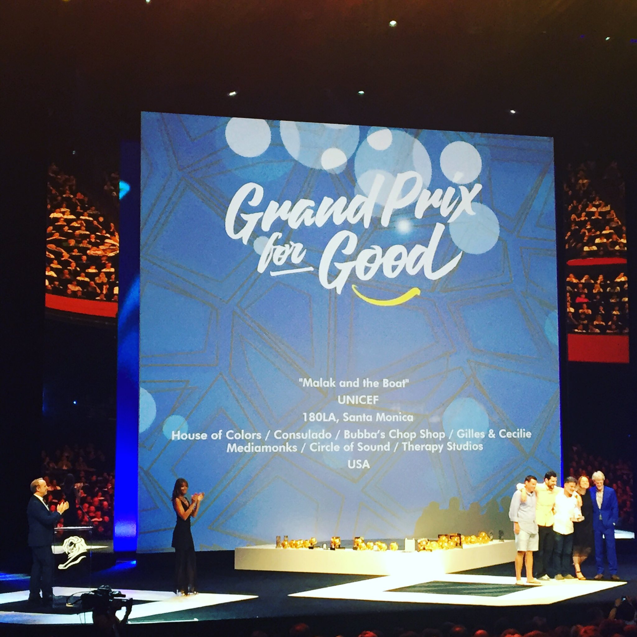 Congratulations @180LA on winning the Grand Prix for Good for @UNICEF #CannesLions #TBWACannes https://t.co/rqCBmPKPV4