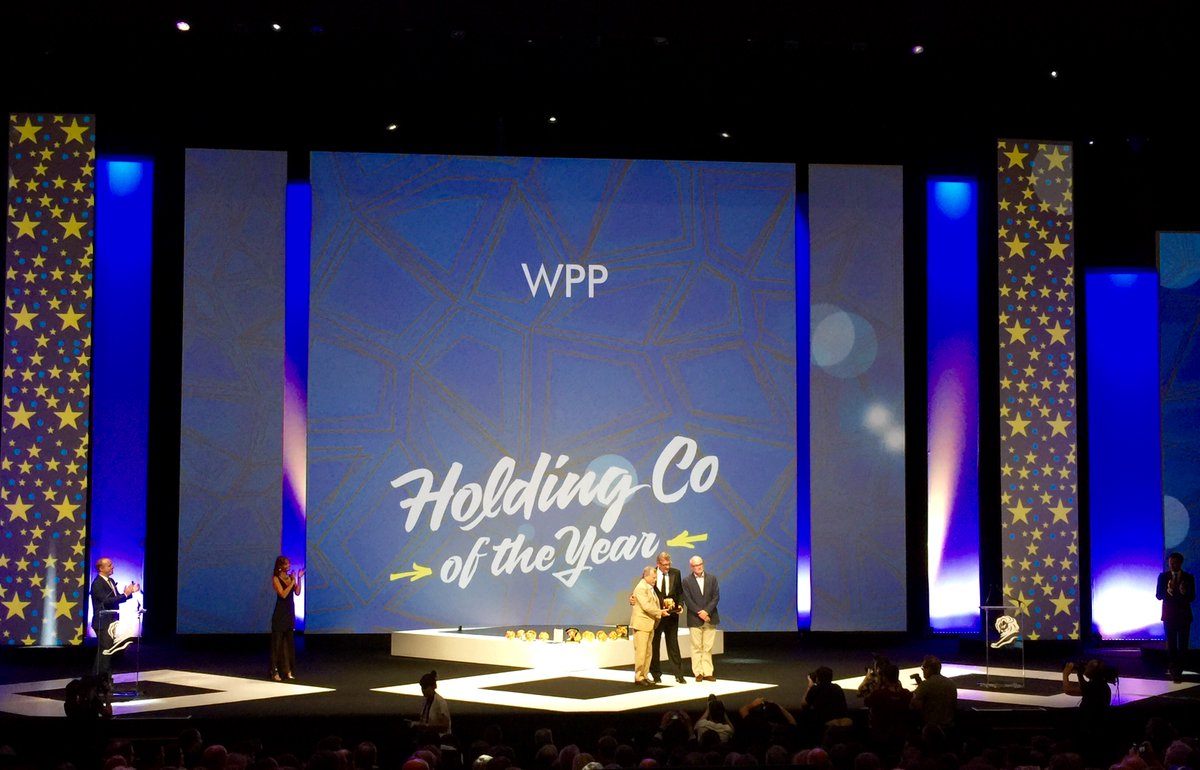 Sir Martin Sorrell and @jlokeeffe accept the #CannesLions creative holding company of the year award https://t.co/tJbiqSkPc6
