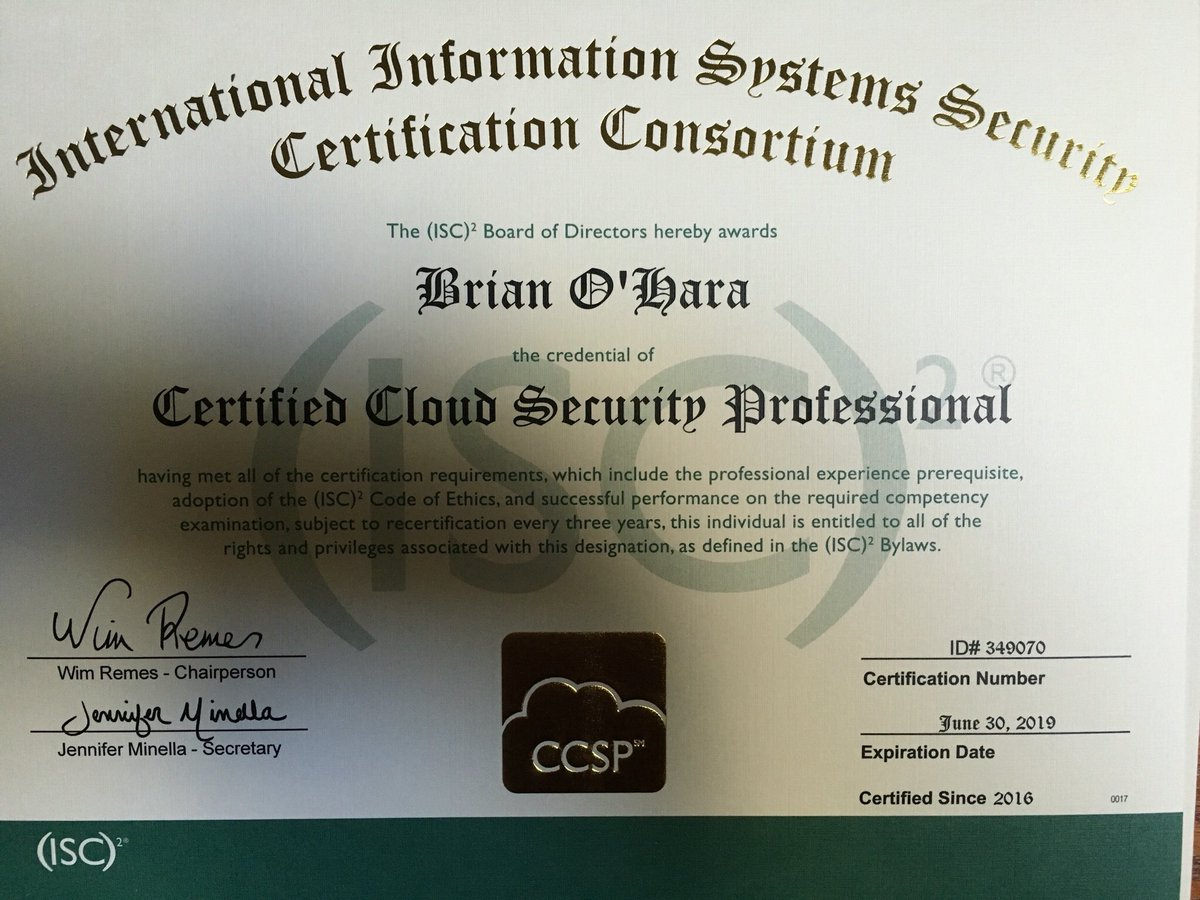 Brian t ohara on twitter ccsp just received my ccsp brian t ohara on twitter ccsp just received my ccsp certificate from isc2 xflitez Gallery