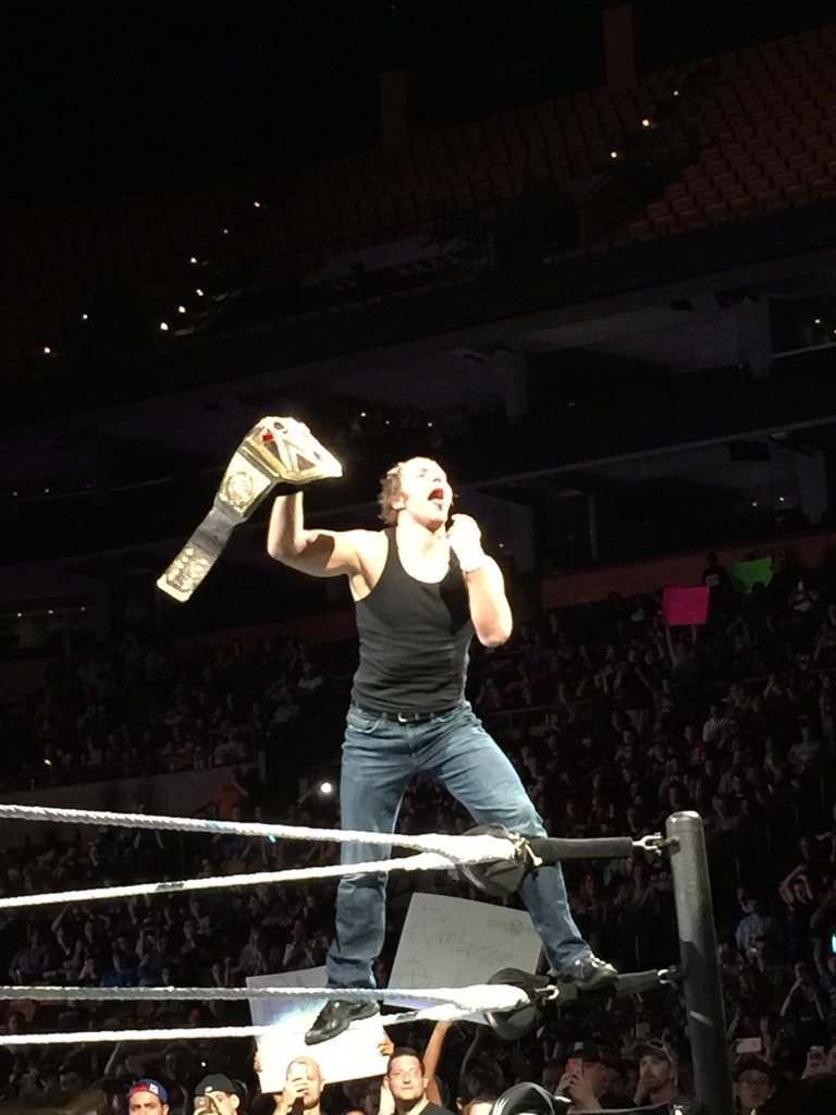 The champ is here!!! #WWEBoston https://t.co/0IKkQWgctd