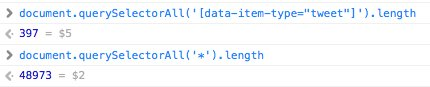 Photo of JavaScript console with evidence of tweet count vs DOM element count