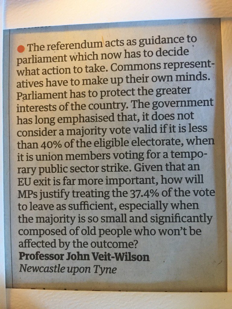 Return to Parliamentary Democracy? Interesting letter in the Guardian: