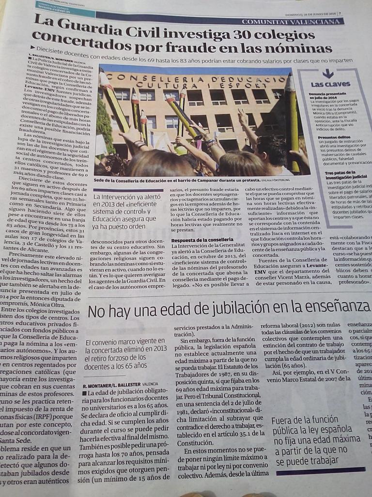 Levante: la Guardia Civil investiga 30 colegios concertados  por fraude en las nóminas https://t.co/mdU7RQesEA