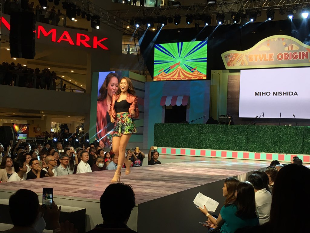 Miho strutting down the runway in Topshop