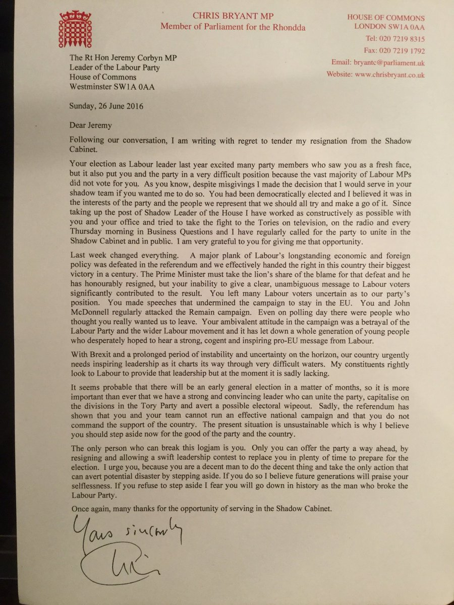example of resignation letter chris bryant on quot i just spoken to 1206