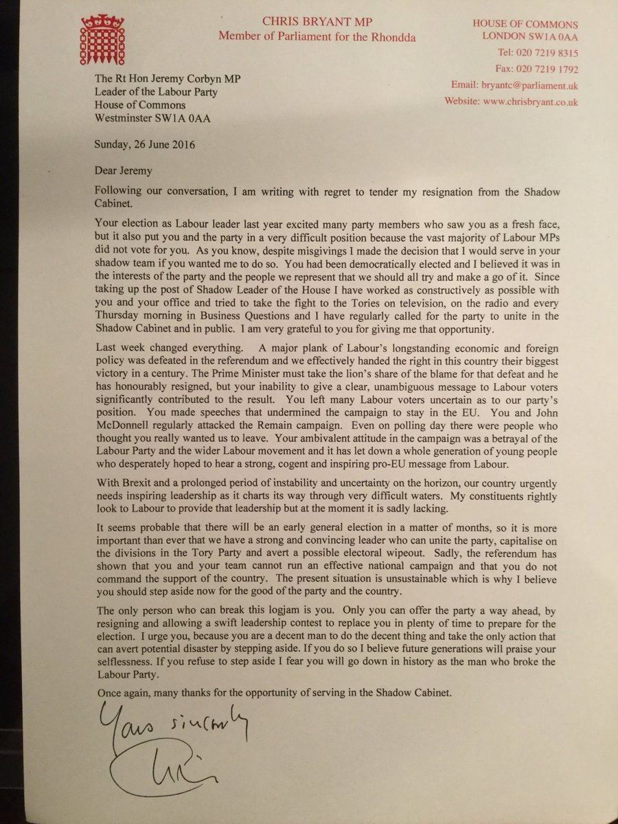 """""""...the man who broke the Labour Party""""   Chris Bryant writes a resignation letter that will go down in history: https://t.co/znwstd6Fkb"""