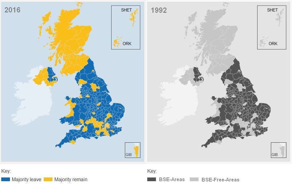 #MadeMeLaugh  EU Referendum Local Results 2016 vs Mad Cow Disease Outbreak Areas 1992.   Allegedly… https://t.co/tUXlGndHDb