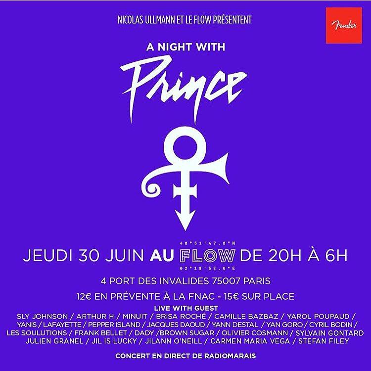 RT @yarolpoupaud: Soirée Prince Jeudi 30 Juin avec @slyjohnson_OFF @ArthurHofficial @minuitmusic @labrisadayroche @nicolasullmann etc. http…