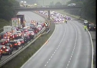 Traffic held due to collision, #M69 J2 - J1 both ways, work to clear debris underway, Aim to have you moving shortly https://t.co/LfGXd32wzm