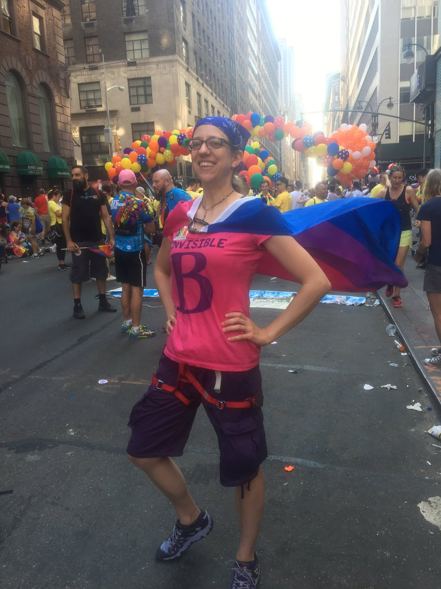 Waiting to step off in the #NYCPrideParade with my rock climbing group! #bipride #bivisibility https://t.co/iu9GHNsYNG